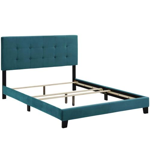 Amira King Performance Velvet Bed in Sea Blue