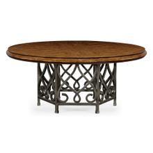 "72"" Rustic Walnut Dining Table with Wrought Iron Base"