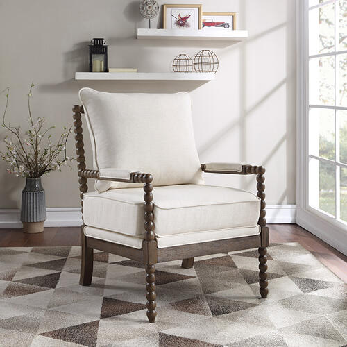 Fletcher Spindle Chair In Linen Fabric With Brush Charcoal Finish