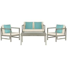 Montez 4-pc Outdoor Set With Accent Pillows - Grey Wash / White / Light Blue
