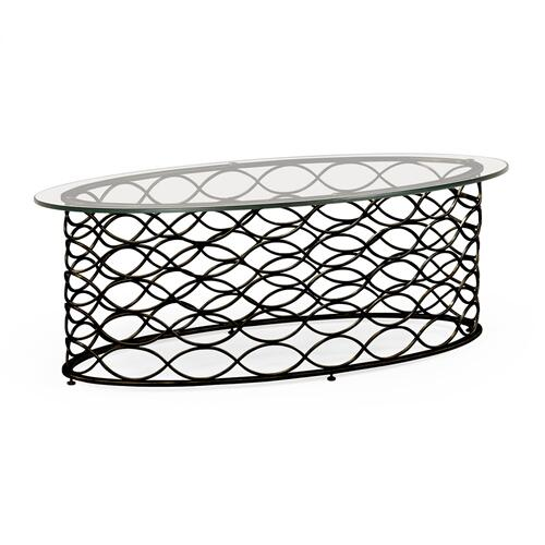 Interlaced bronze & glass oval coffee table
