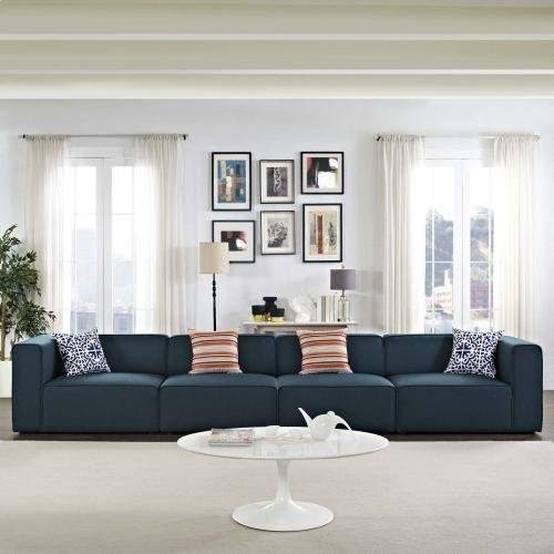 Modway Mingle Contemporary Modern 4-Piece Sectional Sofa Set in Blue