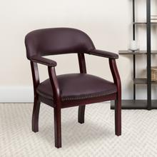 View Product - Burgundy LeatherSoft Conference Chair with Accent Nail Trim