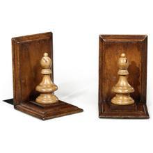 Walnut chess piece bookends (Bishop)