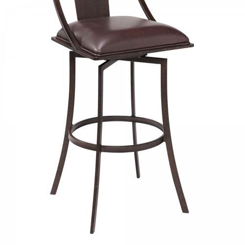 """Armen Living - Brisbane Contemporary 26"""" Counter Height Barstool in Auburn Bay Finish and Brown Faux Leather"""