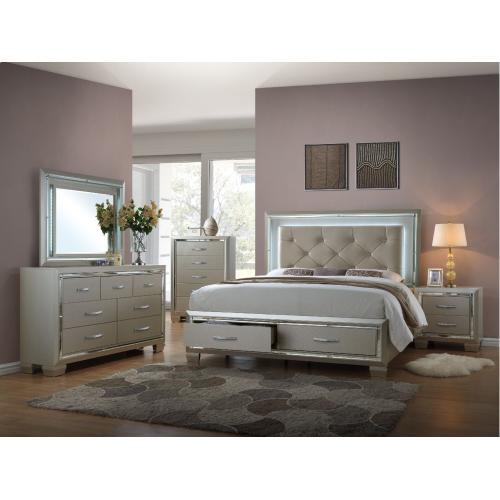Platinum Storage Bedroom - Queen Storage Bed, Dresser, Mirror, Chest, and Night Stand