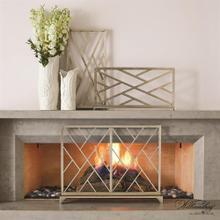 Chinoise Fret Fireplace Screen-Nickel