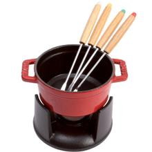 Staub Cast Iron 0.25-qt Mini Chocolate Fondue Set, Cherry