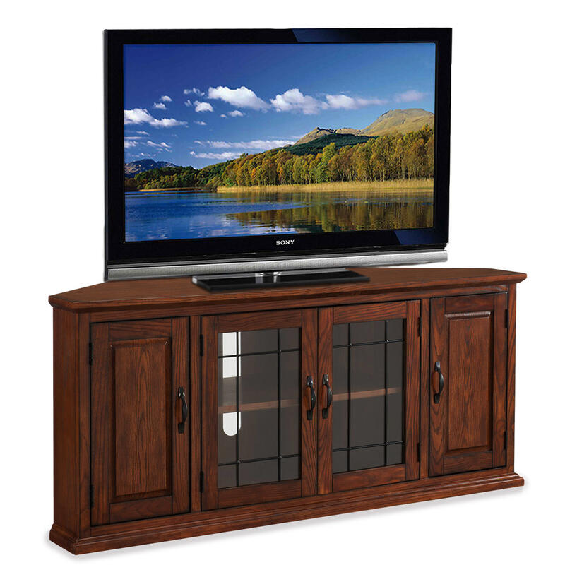 """See Details - Oak Leaded Glass 56"""" TV Stand #80386"""