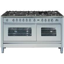 Professional Plus 60 Inch Dual Fuel Natural Gas Freestanding Range in Stainless Steel with Chrome Trim