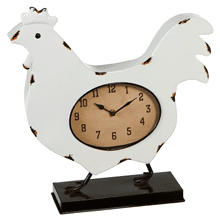 Black & White Enamel Rooster Clock