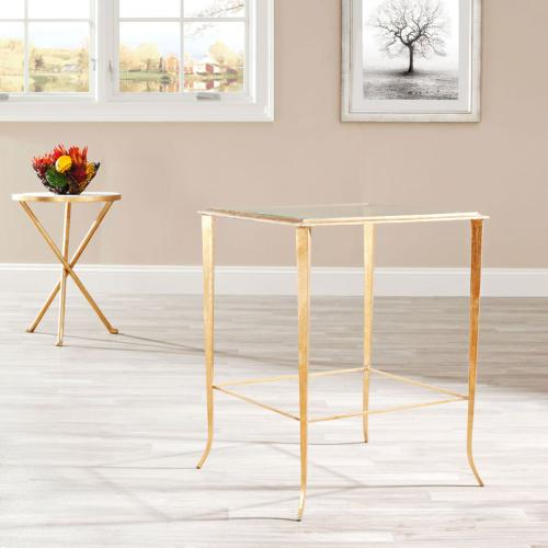 Tory Gold Foil Glass Top Accent Table - Gold / Clear