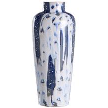 Romani Blue  20In Ceramic Vase In Reactive Glaze