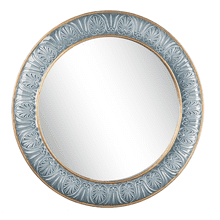 Embossed Blue & Gold Framed Wall Mirror