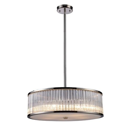 Braxton 5-Light Chandelier in Polished Nickel with Ribbed Glass Cylinder Shade