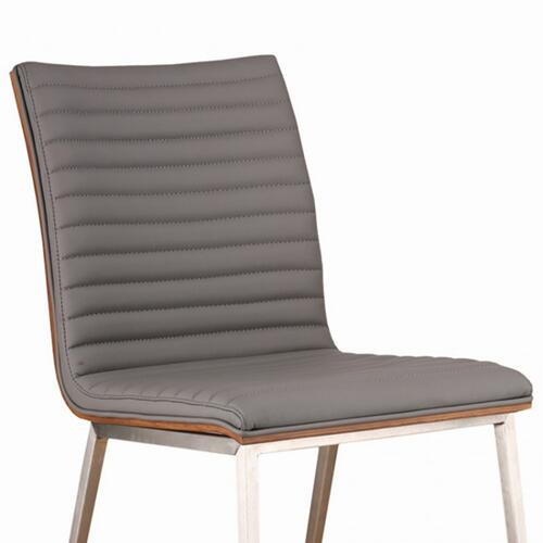 Armen Living Café Brushed Stainless Steel Dining Chair in Gray Faux Leather with Walnut Back - Set of 2