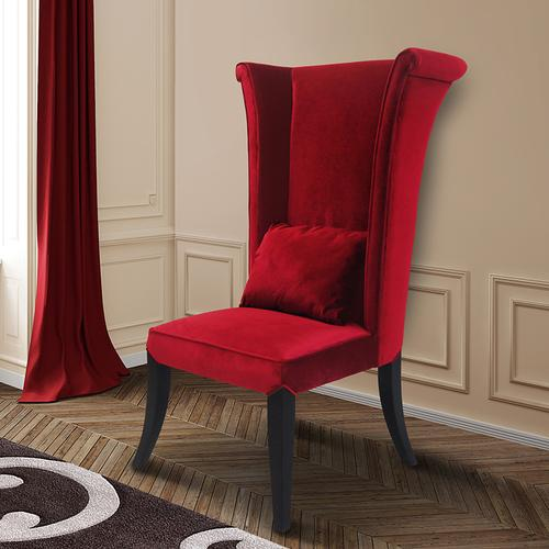 Armen Living Mad Hatter Dining Chair In Red Rich Velvet