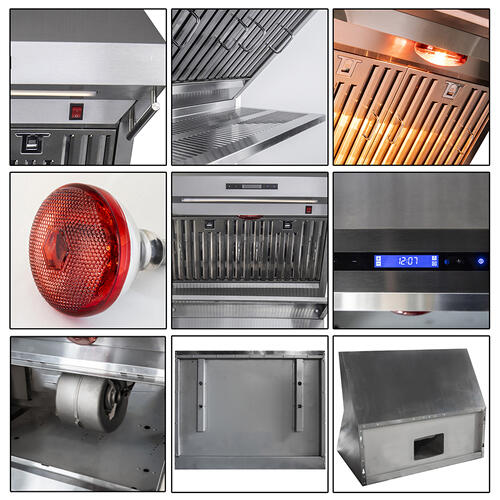 "FORNO 30"" Stainless Steel Range Hood 600 CFM Range Hood With Red Light Warmer / Shelf / Back Splash Baffle Filters"