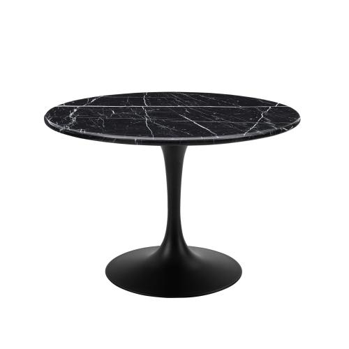 Colfax 5 Piece Black Base/Black Marble Top Dining (Table & 4 Side Chairs)