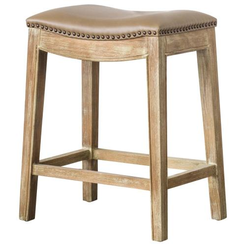 Elmo Bonded Leather Counter Stool Weathered Smoke Legs, Vintage Taupe