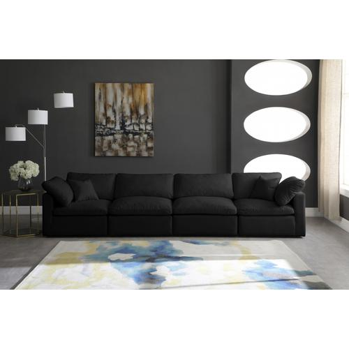 "Plush Velvet Standard Cloud Modular Down Filled Overstuffed 140"" Sofa - 140"" W x 35"" D x 32"" H"