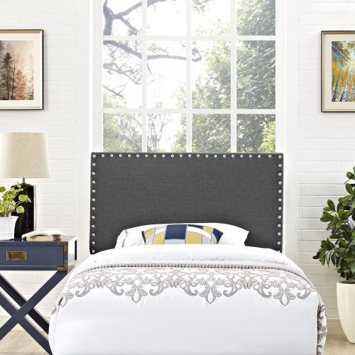 Phoebe Twin Upholstered Fabric Headboard in Gray