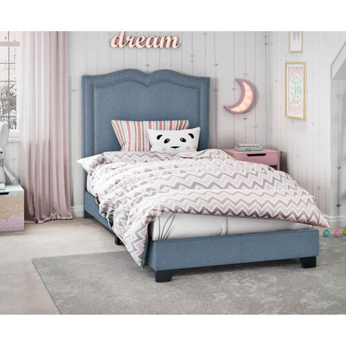Glam Shaped Double Nailhead Trim Twin Upholstered Bed in Classic Blue