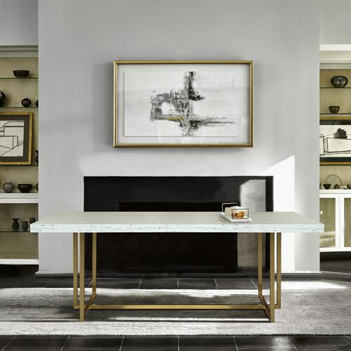 Harmony Contemporary Dining Table in Brushed Gold Finish and Ash Veneer Top