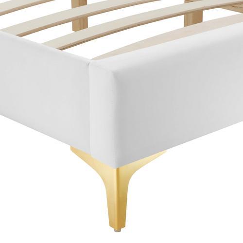 Sutton Queen Performance Velvet Bed Frame in White
