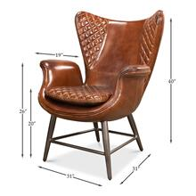 Quilted Vintage Cigar Brown Wing Chair