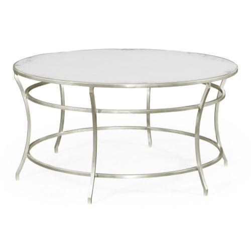 Silver Round Iron Coffee Table with An Antique Glass Top