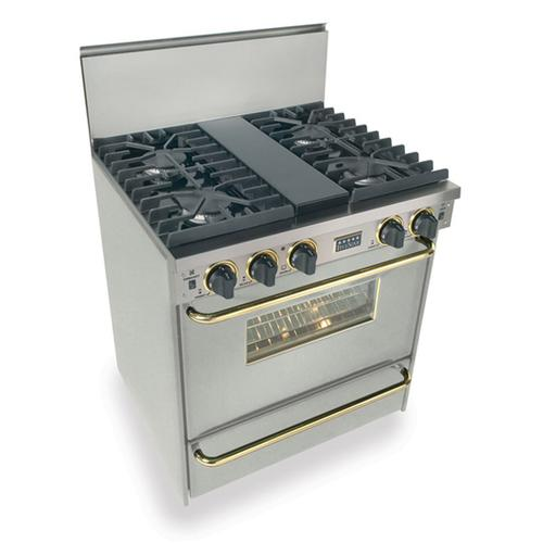 """Five Star - 30"""" All Gas, Convect, Sealed Burners, Stainless Steel with Brass"""