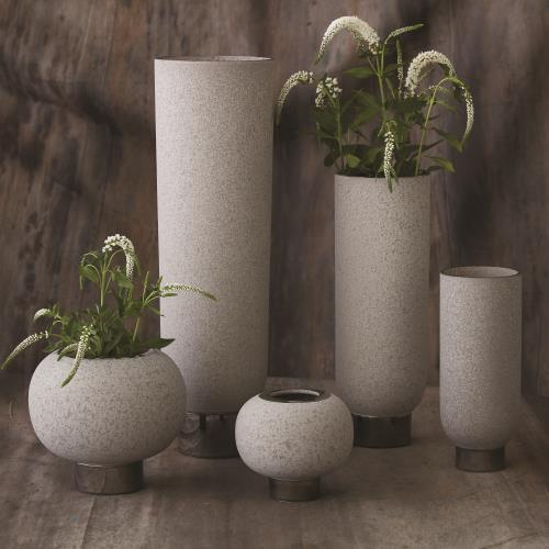 Silver Banded Vase-Grey-Sm