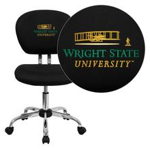 Wright State University Embroidered Black Mesh Task Chair with Chrome Base