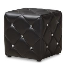 See Details - Baxton Studio Stacey Modern and Contemporary Black Faux Leather Upholstered Ottoman