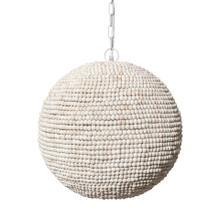 Theta 15.5x14.5 White-Washed Wood Beaded Pendant Light