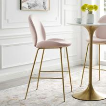 Scoop Gold Stainless Steel Leg Performance Velvet Bar Stool in Pink