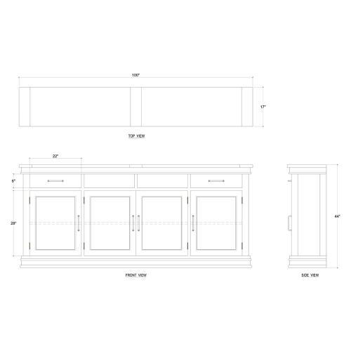 Williamson 4 Door Media w/ Lift Drawers