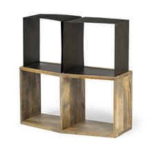 Acervius I 20L x 13.5W x 31.5H Gold Wood and Black Metal Shelving Unit