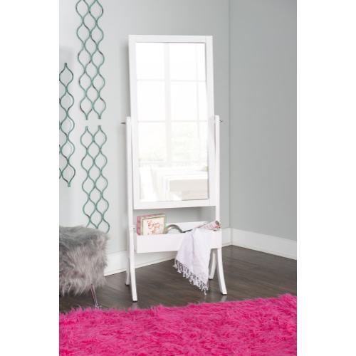Built-in Rectangle Bin Cheval Mirror, White