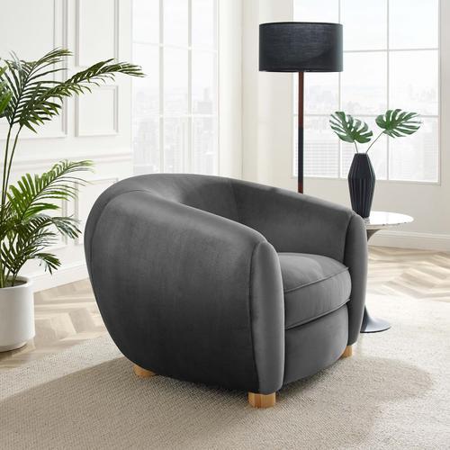 Modway - Abundant Performance Velvet Armchair in Charcoal