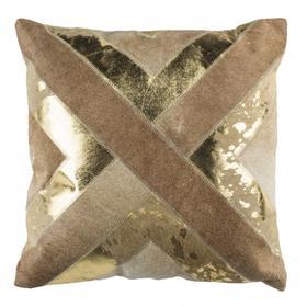 Colma Metallic Cowhide Pillow - Beige / Gold