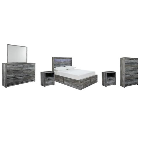 Product Image - Full Panel Bed With 4 Storage Drawers With Mirrored Dresser, Chest and 2 Nightstands
