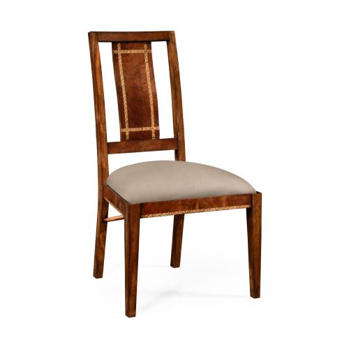 Craftsman's mahogany dining occasional chair with herringbone inlay detail (Side)