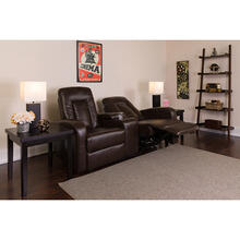 Eclipse Series 2-Seat Push Button Motorized Reclining Brown LeatherSoft Theater Seating Unit with Cup Holders