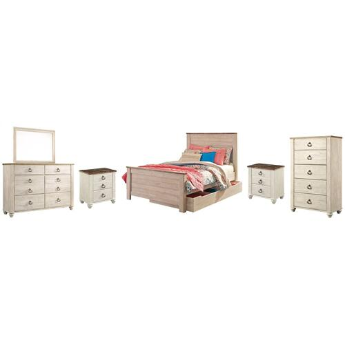 Full Panel Bed With 1 Storage Drawer With Mirrored Dresser, Chest and 2 Nightstands