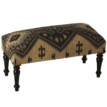 Black & Tan Kilim Upholstered Bench