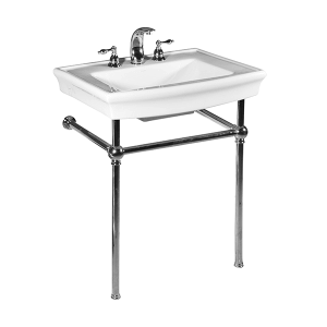 White JULIAN Console Lavatory with Polished Chrome Metal Finish Product Image