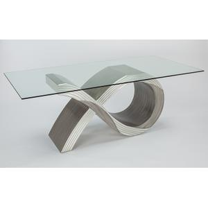 """Artmax - Dining Table Base for 8, with Glass Base: 54x20x30"""", Glass: 86x42"""" & 1/2"""" thickness"""