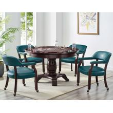 View Product - Tournament 6 Piece Dining/Game Table Set - Teal Chairs (Dining Table, Brown Game Top, & 4 Captain's Chairs)
